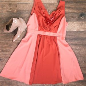 NWT Orange/Pink Chiffon Dress